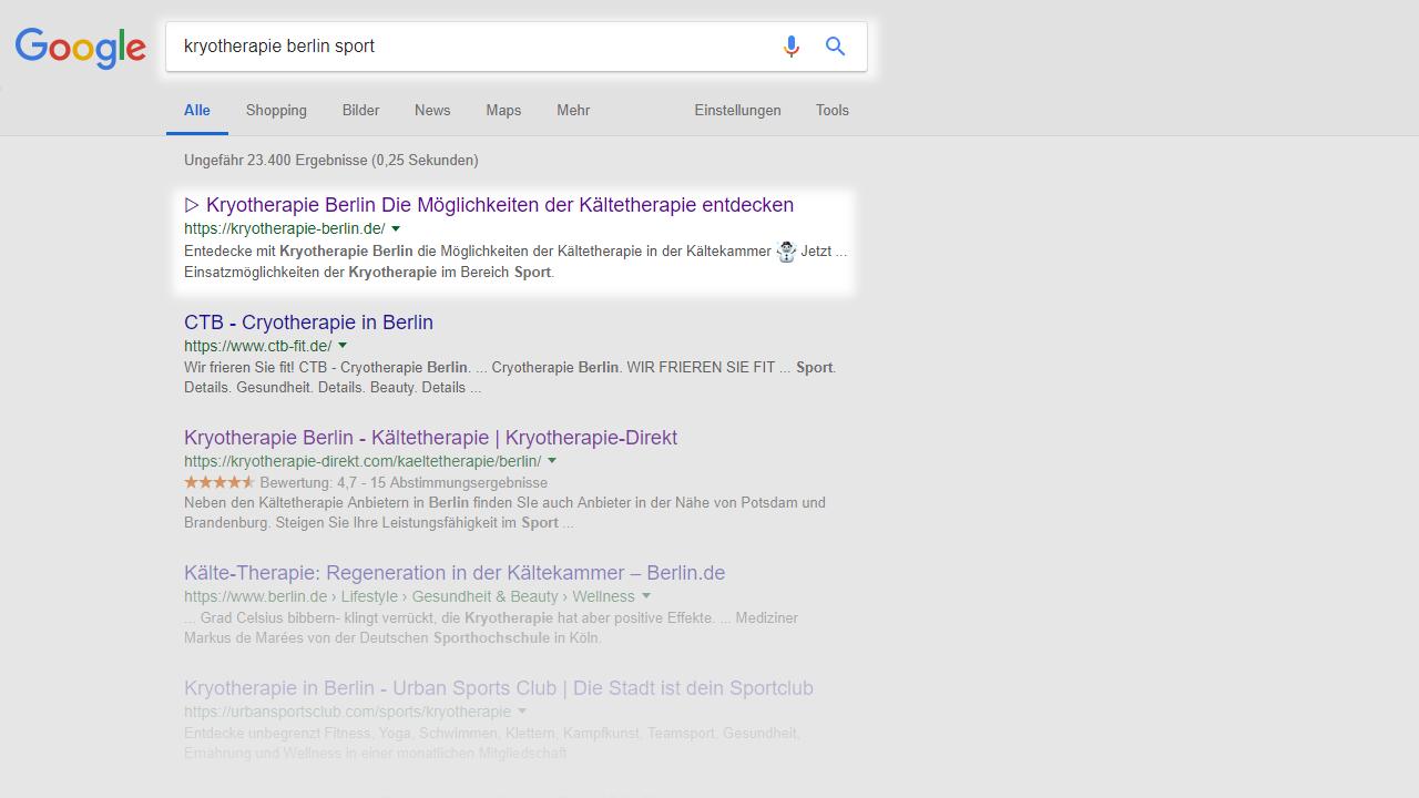 Kryotherapie Berlin Sport